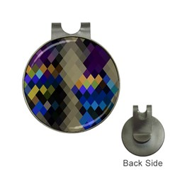 Background Of Blue Gold Brown Tan Purple Diamonds Hat Clips with Golf Markers