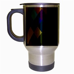 Background Of Blue Gold Brown Tan Purple Diamonds Travel Mug (Silver Gray)