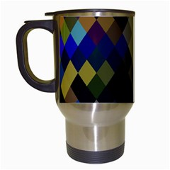 Background Of Blue Gold Brown Tan Purple Diamonds Travel Mugs (White)