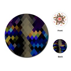 Background Of Blue Gold Brown Tan Purple Diamonds Playing Cards (round)