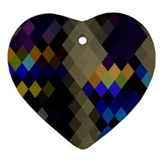 Background Of Blue Gold Brown Tan Purple Diamonds Heart Ornament (two Sides)