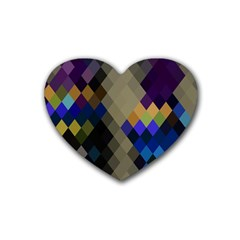Background Of Blue Gold Brown Tan Purple Diamonds Heart Coaster (4 pack)