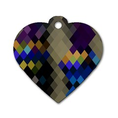 Background Of Blue Gold Brown Tan Purple Diamonds Dog Tag Heart (Two Sides)