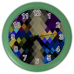 Background Of Blue Gold Brown Tan Purple Diamonds Color Wall Clocks