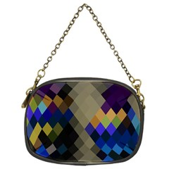 Background Of Blue Gold Brown Tan Purple Diamonds Chain Purses (two Sides)