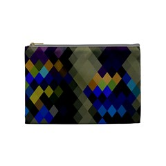 Background Of Blue Gold Brown Tan Purple Diamonds Cosmetic Bag (Medium)