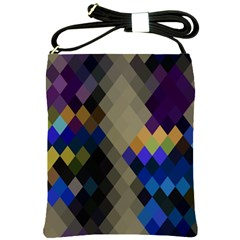 Background Of Blue Gold Brown Tan Purple Diamonds Shoulder Sling Bags