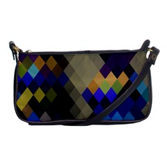 Background Of Blue Gold Brown Tan Purple Diamonds Shoulder Clutch Bags