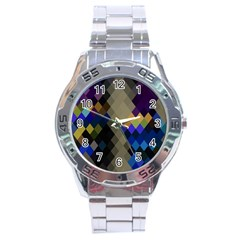 Background Of Blue Gold Brown Tan Purple Diamonds Stainless Steel Analogue Watch