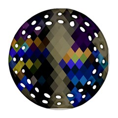 Background Of Blue Gold Brown Tan Purple Diamonds Round Filigree Ornament (Two Sides)