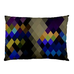 Background Of Blue Gold Brown Tan Purple Diamonds Pillow Case (Two Sides)