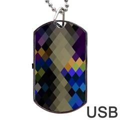 Background Of Blue Gold Brown Tan Purple Diamonds Dog Tag USB Flash (One Side)