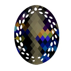 Background Of Blue Gold Brown Tan Purple Diamonds Ornament (oval Filigree)