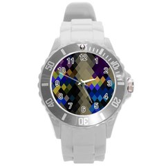 Background Of Blue Gold Brown Tan Purple Diamonds Round Plastic Sport Watch (L)