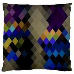 Background Of Blue Gold Brown Tan Purple Diamonds Large Cushion Case (two Sides)