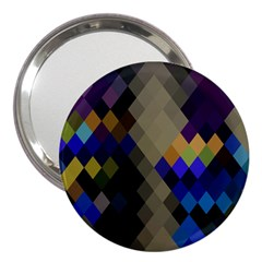 Background Of Blue Gold Brown Tan Purple Diamonds 3  Handbag Mirrors