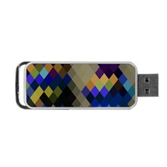 Background Of Blue Gold Brown Tan Purple Diamonds Portable Usb Flash (one Side)
