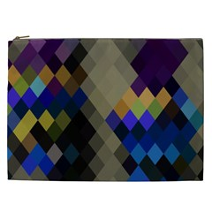 Background Of Blue Gold Brown Tan Purple Diamonds Cosmetic Bag (xxl)