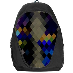 Background Of Blue Gold Brown Tan Purple Diamonds Backpack Bag