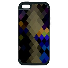Background Of Blue Gold Brown Tan Purple Diamonds Apple Iphone 5 Hardshell Case (pc+silicone)