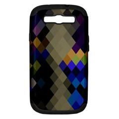 Background Of Blue Gold Brown Tan Purple Diamonds Samsung Galaxy S III Hardshell Case (PC+Silicone)