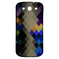 Background Of Blue Gold Brown Tan Purple Diamonds Samsung Galaxy S3 S III Classic Hardshell Back Case
