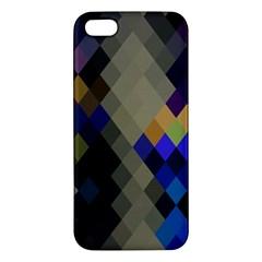 Background Of Blue Gold Brown Tan Purple Diamonds Apple Iphone 5 Premium Hardshell Case