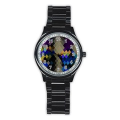Background Of Blue Gold Brown Tan Purple Diamonds Stainless Steel Round Watch