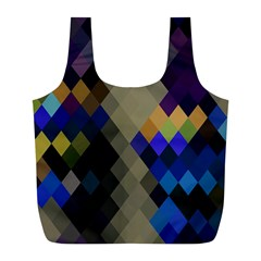 Background Of Blue Gold Brown Tan Purple Diamonds Full Print Recycle Bags (L)