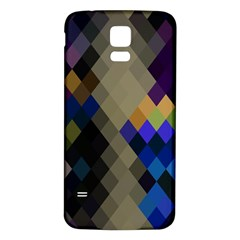 Background Of Blue Gold Brown Tan Purple Diamonds Samsung Galaxy S5 Back Case (White)