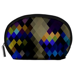 Background Of Blue Gold Brown Tan Purple Diamonds Accessory Pouches (large)