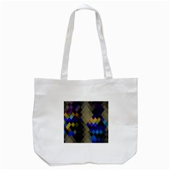 Background Of Blue Gold Brown Tan Purple Diamonds Tote Bag (white)