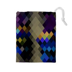Background Of Blue Gold Brown Tan Purple Diamonds Drawstring Pouches (large)