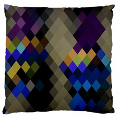 Background Of Blue Gold Brown Tan Purple Diamonds Large Flano Cushion Case (one Side)