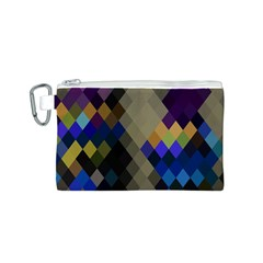 Background Of Blue Gold Brown Tan Purple Diamonds Canvas Cosmetic Bag (S)