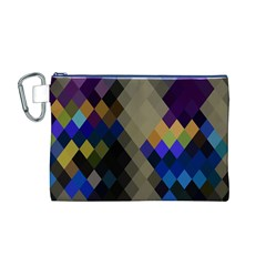 Background Of Blue Gold Brown Tan Purple Diamonds Canvas Cosmetic Bag (m)