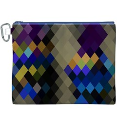 Background Of Blue Gold Brown Tan Purple Diamonds Canvas Cosmetic Bag (XXXL)