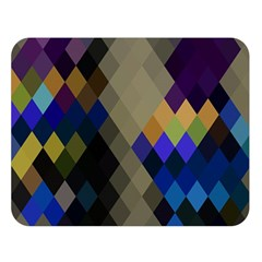 Background Of Blue Gold Brown Tan Purple Diamonds Double Sided Flano Blanket (Large)