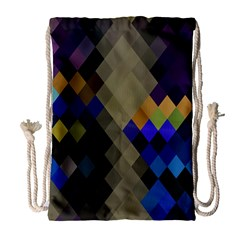 Background Of Blue Gold Brown Tan Purple Diamonds Drawstring Bag (large)