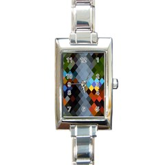 Diamond Abstract Background Background Of Diamonds In Colors Of Orange Yellow Green Blue And More Rectangle Italian Charm Watch