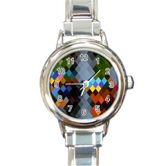 Diamond Abstract Background Background Of Diamonds In Colors Of Orange Yellow Green Blue And More Round Italian Charm Watch