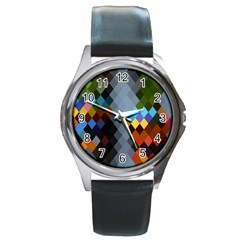 Diamond Abstract Background Background Of Diamonds In Colors Of Orange Yellow Green Blue And More Round Metal Watch