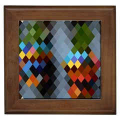 Diamond Abstract Background Background Of Diamonds In Colors Of Orange Yellow Green Blue And More Framed Tiles