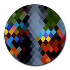 Diamond Abstract Background Background Of Diamonds In Colors Of Orange Yellow Green Blue And More Round Mousepads