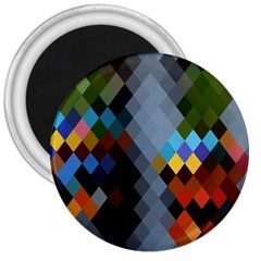 Diamond Abstract Background Background Of Diamonds In Colors Of Orange Yellow Green Blue And More 3  Magnets