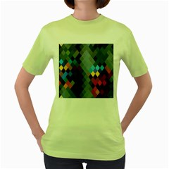Diamond Abstract Background Background Of Diamonds In Colors Of Orange Yellow Green Blue And More Women s Green T-Shirt