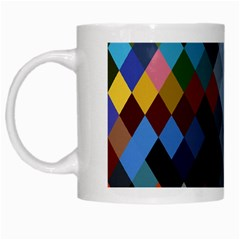 Diamond Abstract Background Background Of Diamonds In Colors Of Orange Yellow Green Blue And More White Mugs