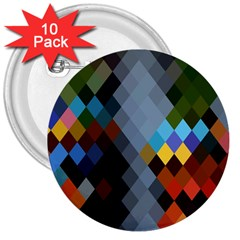 Diamond Abstract Background Background Of Diamonds In Colors Of Orange Yellow Green Blue And More 3  Buttons (10 pack)