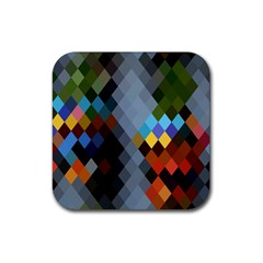 Diamond Abstract Background Background Of Diamonds In Colors Of Orange Yellow Green Blue And More Rubber Square Coaster (4 Pack)