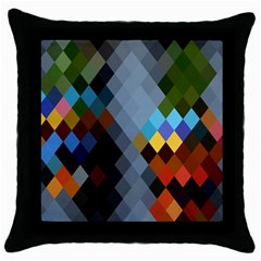Diamond Abstract Background Background Of Diamonds In Colors Of Orange Yellow Green Blue And More Throw Pillow Case (Black)
